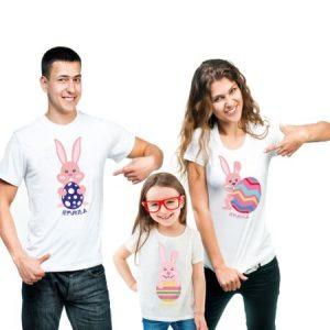 cadou familie 3 tricouri bumbac iepuras Paste