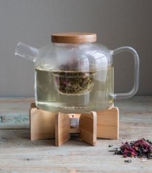 ceainic cu infuzor si suport